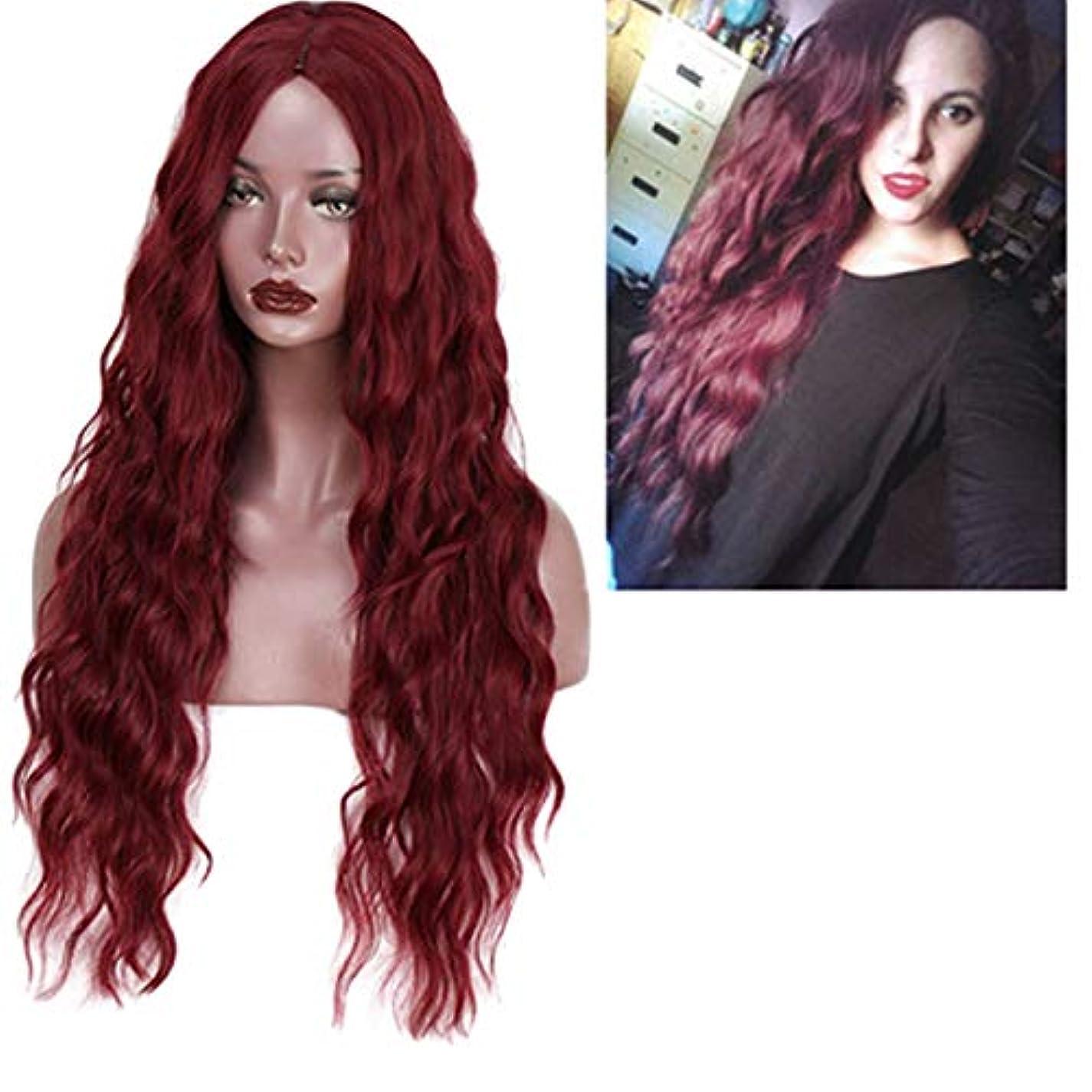 蛇行マットレス施しかつら女性150%密度波状の長い巻き毛の合成耐熱繊維の毛