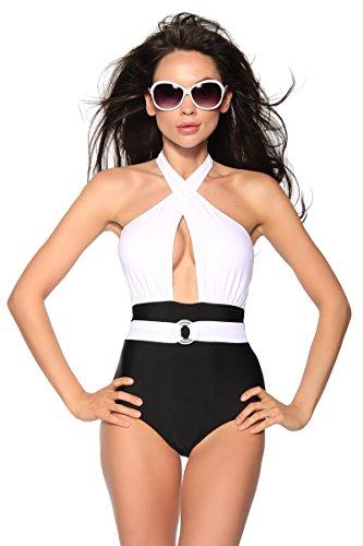 Zwart en wit vintage stijl badpak, Monokini maat 10 (L)
