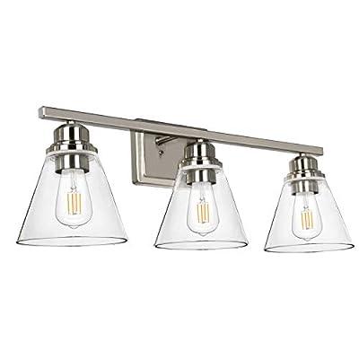 Hykolity 3-Light Bathroom Vanity Light, Brushed Nickel Bath Light Fixtures (Led Edison Bulbs as Bonus), Clear Glass Shades, ETL Listed