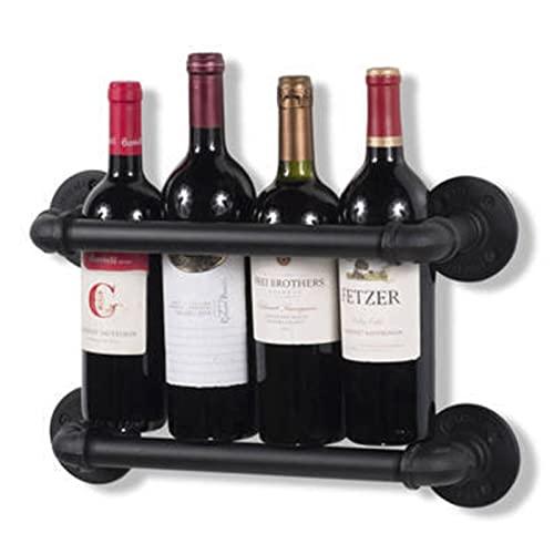 Estante de vino, Estilo Industrial, Forma de Tubería de Agua, Restaurante y Bar Wall Wine Rack, Rack de vino de pared de hierro forjado