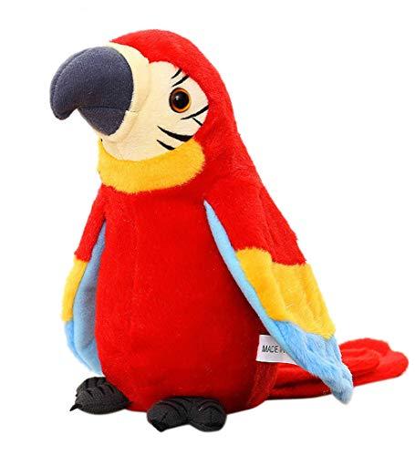 Juguete de peluche con forma de loro parlante más lindo que habla mascota juguete de peluche que repite lo que dices ondeando las alas, disco electrónico, juguete de peluche, animal, interactivo