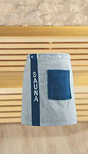 Saunasarong aus 100% Baumwolle für Männer und Frauen (Blau, Mann)