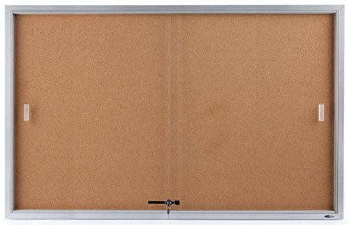 5' x 3' Enclosed Bulletin Board with Sliding Glass Doors, Cork Board Display Surface, 60