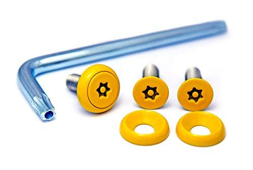ナンバープレート用ボルト ピントルクスサラ ステンレス(イエロー) 3本&工具セット M6×20