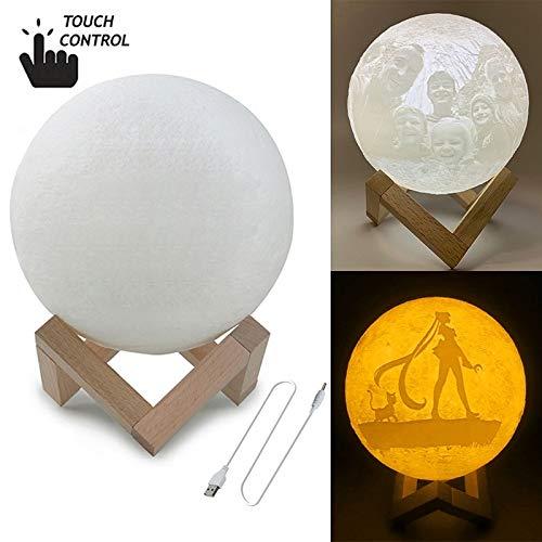 MMPY Luna lámpara Personalizada táctil Interruptor de 2 Colores de impresión en 3D de la Luna luz de Carga USB de Ahorro de energía LED de luz de la Noche con Soporte de Madera Base, Diámetro: 18 cm