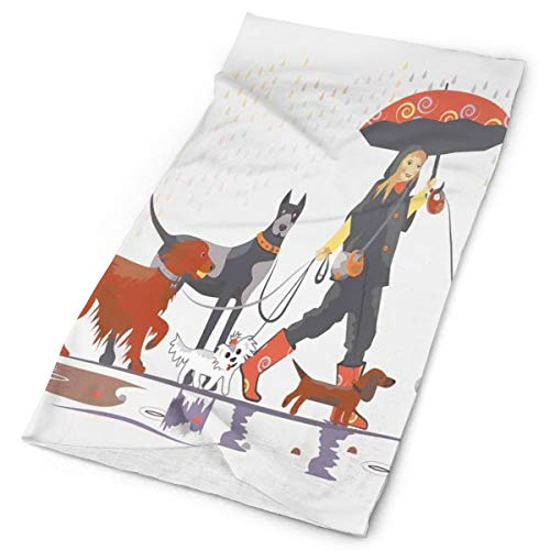 Headwear Headband Head Scarf Wrap Sweatband, Young Modern Girl Taking Pack Of Dog For A Walk In The Rain Fun Joyful Times Artsy Print, Sport Headscharnieren for Men Women