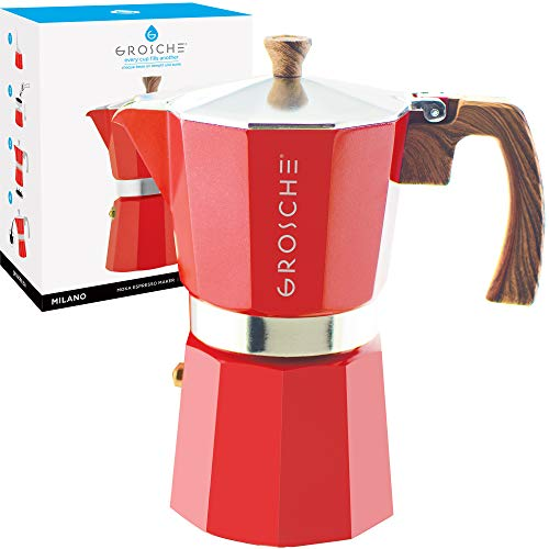 New GROSCHE Milano Stovetop Espresso Maker Moka Pot 9 Cup, 15.2 oz, Red - Cuban Coffee Maker Stove t...