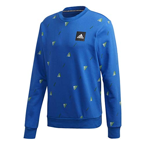 adidas Must Haves Graphic Crew Sweatshirt Suéter, Azul, Small para Hombre