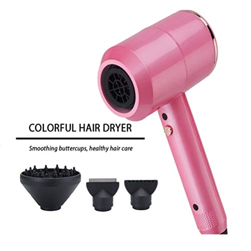 LXFA Hair Dryers for Women Lightweight Pink Quiet Mini Hair Dryer with Diffuser, Multifunction Professional Portable Salon Hairdryer Best 3 Speed Contain 2 Nozzles and 1 Diffuser