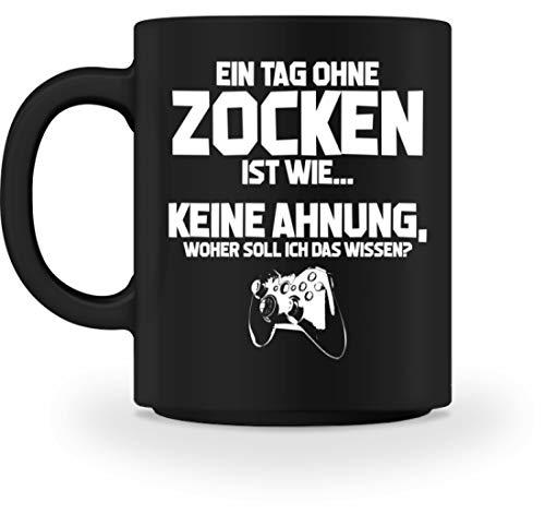 shirt-o-magic Gamer: Tag ohne Zocken? Unmöglich! - Tasse -M-Schwarz