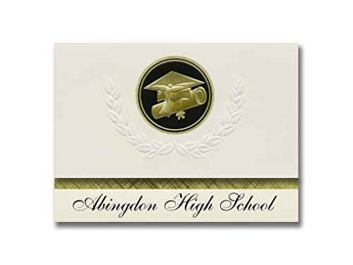 Signature Announcements Abingdon High School (Abingdon, VA) Graduation Announcements, Presidential style, Elite package of 25 Cap & Diploma Seal Black & Gold