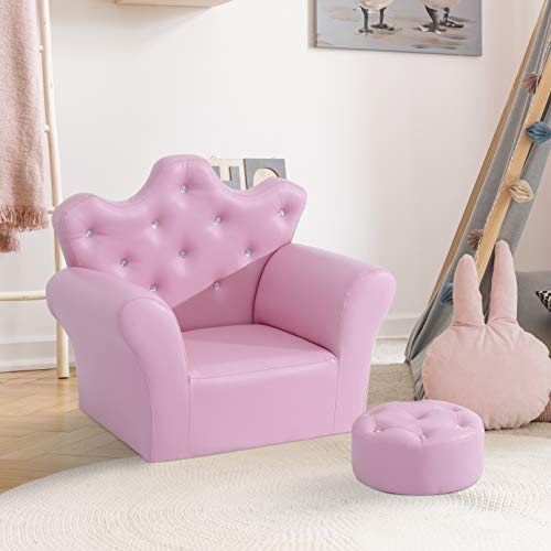 HOMCOM Children Kids Sofa Set Armchair Chair Seat with Free Footstool PU Leather Pink