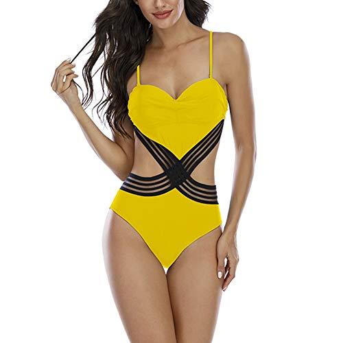 ZYZS Tirantes sexy en forma de corazón para mujer y traje de baño de una pieza con cinturón amarillo XL