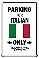 駐車場イタリアンのみウォールメタルポスターレトロプラーク警告ブリキサインヴィンテージ鉄絵画装飾オフィスベッドルームリビングルームクラブのための面白いハンギングクラフト