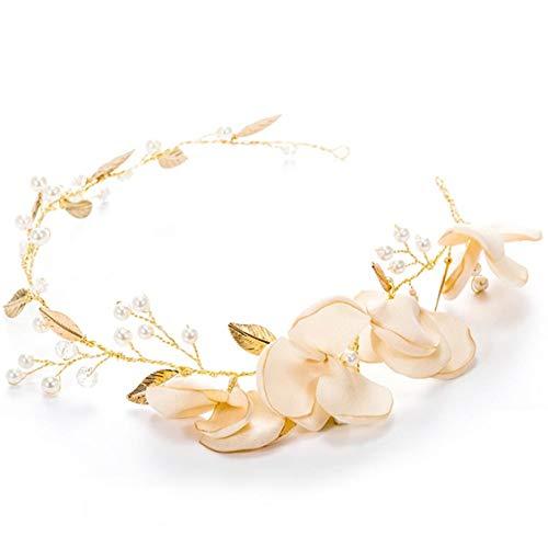 Tding Stirnband, handgefertigt, goldfarbene Kristalle, Blumen-Design, Prinzessinnenschmuck, goldfarben