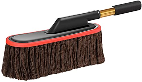COLiJOL Car Duster Cotton Wire Retractable Wax Mop Car Duster Wipe Car Mop Brush Car Dust Removal Car Wash Brush Car Accessories (Color : Coffee, Size : 53Cm),Coffee,53Cm