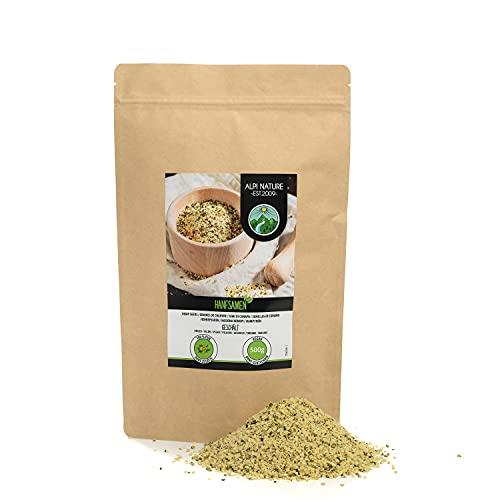 Semillas de cáñamo peladas (500g), corazones de semillas de cáñamo completamente 100% natural, sin aditivos, vegano