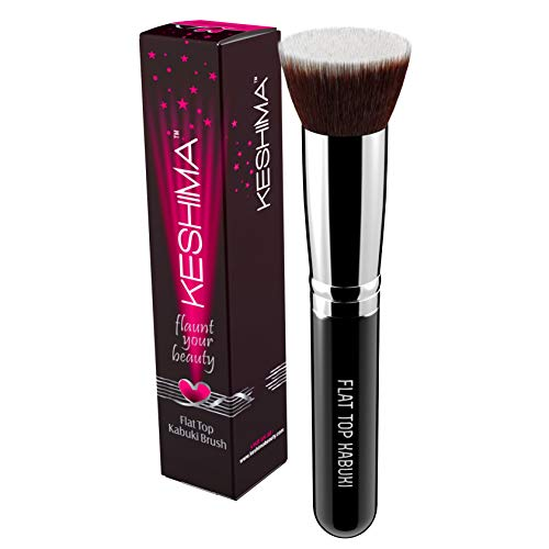 Flat Top Kabuki Foundation Brush By Keshima  Premium Makeup Brush for Liquid Cream and Powder  Buffing Blending and Face Brush