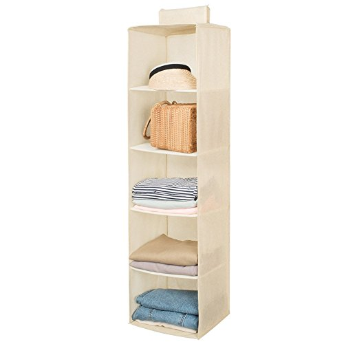 Hanging Closet Organizer,Sweater & Sock Organizer with a Hook and Loops,Collapsible Storage Shelves for Clothes, Pants and Shoes (Beige-5 Shelf)