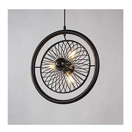 YANGQING Lámpara de araña de lámpara de araña, Iluminación LED E27*3 fuente de luz, Retro de hierro forjado comedor/sala de estar/cafetería/tienda de ropa araña [Clase energética A +]