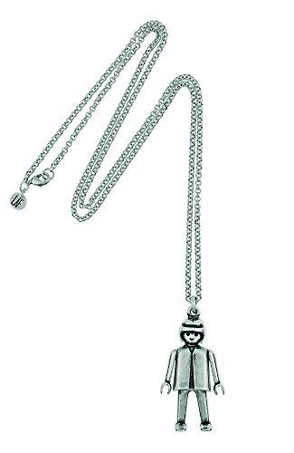"PLAYMOBIL Halskette mit Anhänger ""Playmobil"" aus Zamak, versilbert, 15 Mikrometer. Gelenk Höhe der Figur: 5 cm."
