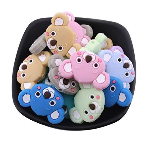 Mamimami Home Naturale Bambino Massaggiagengive in Silicone 10pc Perline di Koala Colorato DIY Gioielli Dentizione Infermieristica Affascinante Giocattoli Montessori Regali di Nascita