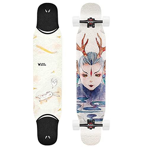VOMI Skateboard con Truck de Aleación de Aluminio y Rueda de PU de Alta Resiliencia, Monopatín de Arce y Bambú Cóncava Patineta Profesional Longboard para Niños Adolescentes Adultos, 44,9' * 9',E