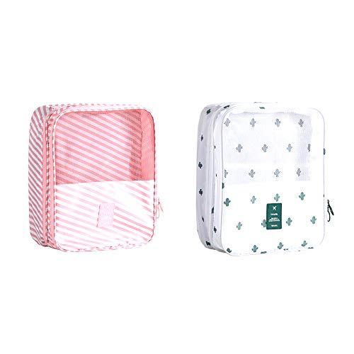 Bocotoer Reise-Schuhbeutel, wasserdicht, staubdicht, tragbar, für Schuhe, Socken, Aufbewahrungstasche, Nass- und Trockentrennung, rosa Streifen und weißer Kaktus, 2 Stück
