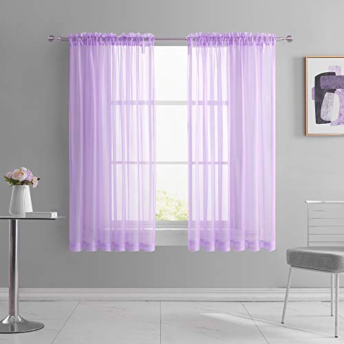 KEQIAOSUOCAI Light Purple Sheer Curtains 63 Inches Long for Girls Kids Room Solid Color Rod Pocket Lilac Lavender Voile Sheer Window Panels Drapes for Living Room Bedroom 2 Pcs 52W x 63L