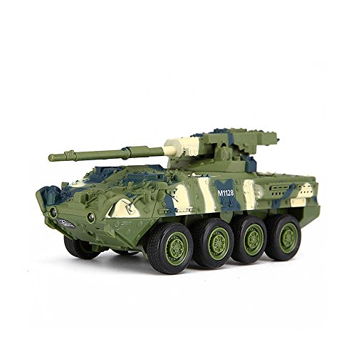 HSP Himoto Panzerkraftwagen M1128 Stryker - RC Mini Ferngesteuerter Panzer mit Schusssimulation Sound, Beleuchtung, Modell-Maßstab, Komplett-Set inkl. Fernsteuerung