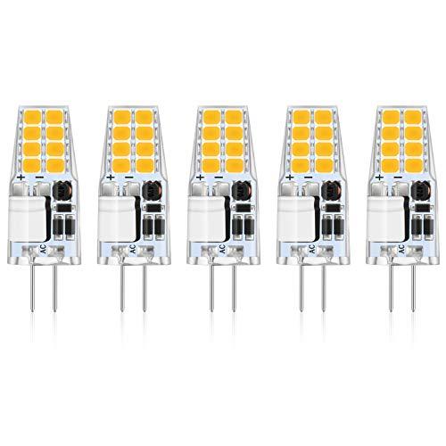 Reteck 5er Pack G4 2W LED Lampen, 210LM, 2W ersetzt 20W Halogenlampen, Warmweiß(2900K), 12V AC/DC, G4 LED Leuchtmittel Birne, G4 LED Glühlampe