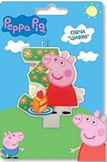 Peppa_pig Birthday Party Supplies Cake Topper Molded Colored Number 3 Candle Holiday Baking Dessert Cupcake Decorating Idea for Celebration Boy's or Girl's Bday Anniversary Kid's Party