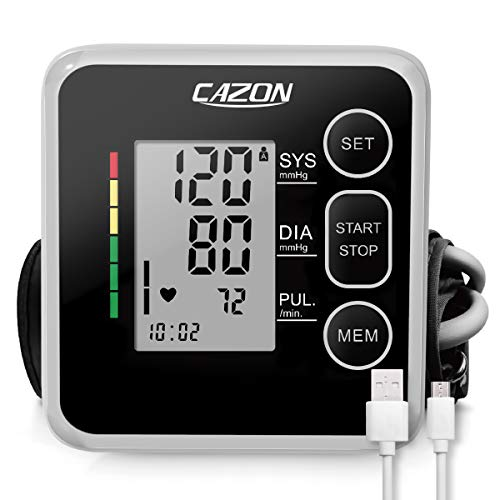 CAZON Blood Pressure Monitor Cuff Upper Arm Automatic BP Machine Digital Home Blood Pressure Monitoring Meter 2x120 Memory Hypertension Detector