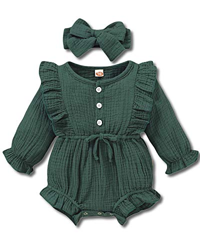 Baby Girl Fall Clothes Ruffle Jumpsuits Infant Long Sleeve Romper Cotton Linen Solid Newborn Bodysuit with Bowknot Headband 2PCS Green 0-3 Months