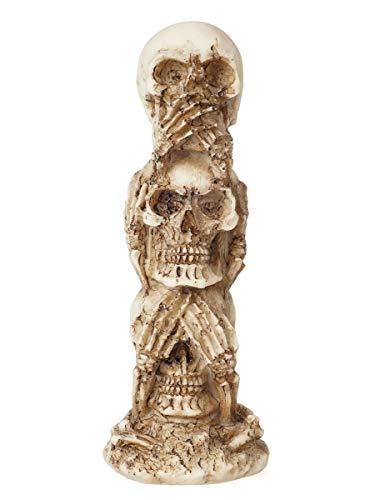 CoolChange Totenkopf Deko Totem mit 3 Totenschädeln | Gothic Dekoration | 17cm