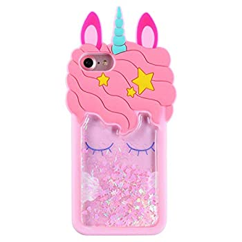 FunTeens Bling Unicorn Case for iPhone 5C/ 5S/ 5/ 5G,3D Cartoon Animal Design Cute Soft Silicone Quicksand Glitter Stars Bling Cover,Kawaii Fashion Cool Skin for Kids Child Teens Girls iPhone5