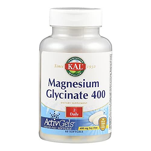 KAL Magnesium Glycinat   200mg   60 Weichkapseln   glutenfrei   ohne Gentechnik   ohne Soja   laborgeprüft   Nahrungsergänzungsmittel mit Magnesiumbisglycinat   Gesunde Funktion von Nerven & Muskeln