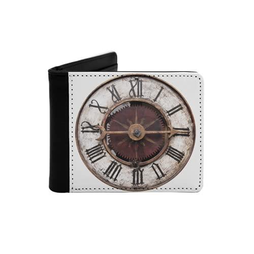 Cartera Delgada de Cuero para Hombre,Antiguo Reloj Antiguo Aislado en Blanco,Cartera Minimalista con Bolsillo Frontal Plegable