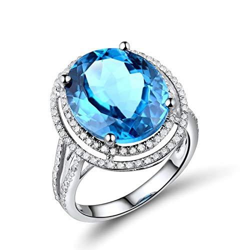 AnazoZ Anillos de Mujer de TopacioAnillo Mujer Oro Blanco 18 Kilates Plata Azul Oval Topacio Azul 8.9ct Diamante 0.512ct Talla 17
