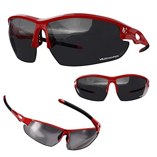 VeloChampion Tornado - Gafas de Sol - Ciclismo Running (3 Juegos de Lentes Intercambiables y Funda) (Rojo)