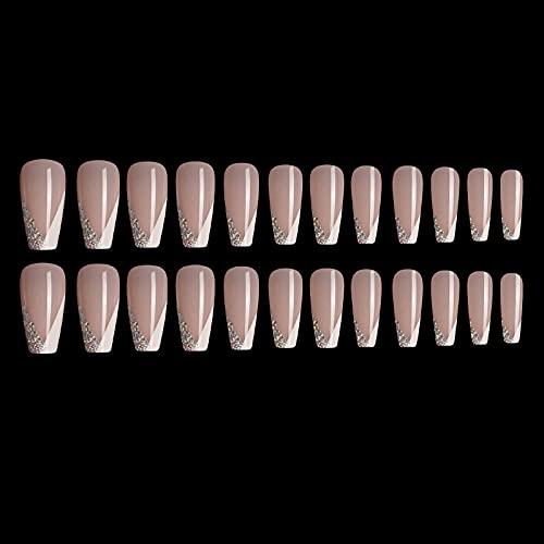 Faux ongles 24 pièces/boîte nouveau style français faux ongles mi-longueur ballet cercueil faux ongles tempérament Nail Art filles décoré à la main TI