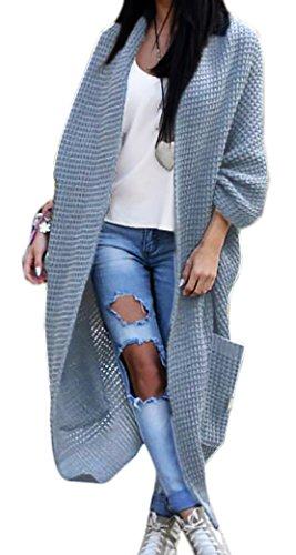 Mikos Damen-Strickjacke-Pullover-Pulli-Jacke-Oversize-Boho-S-M-L-XL (629) Grau