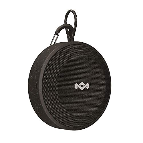 House of Marley No Bounds Outdoor Bluetooth Lautsprecher, wasserdicht, staubdicht & sturzsicher IP67, schwimmfähig, 10 Std Akku, Karabiner, Schnellladung, Aux, Dual Pairing, Mikrofon, sig black