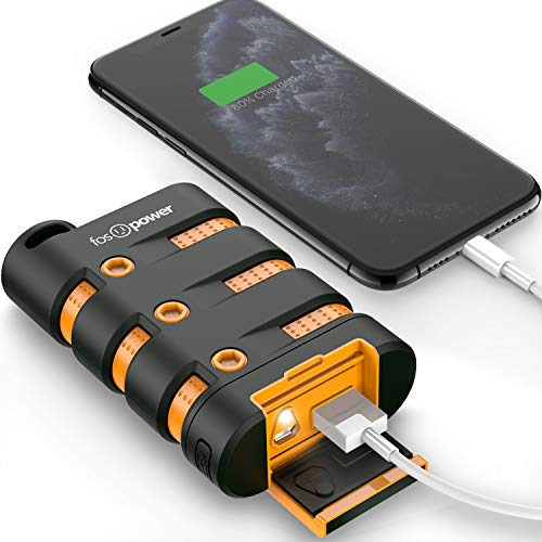 FosPower Mobiler Powerbank Outdoor[10200 mAh]Externer Akkupack[Wasserdicht/Tragbar]Akkuladegerät[USB|LED|Karabiner|Kompass]Handy Portable Charger/External Battery Pack Akkus/Multi Powerpack/Powerbook