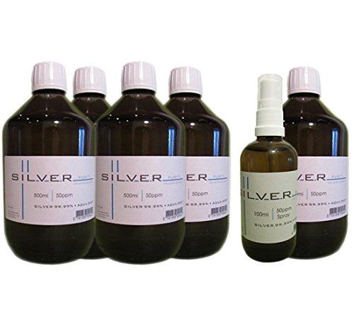 Preisvergleich Produktbild Kolloidales Silber 5x 500ml / 50ppm Flasche + 100ml / 50ppm Sprühflasche pur / SET