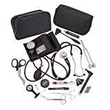 AsaTechmed Complete Diagnostic Blood Pressure, Stethoscope, Otoscope Kit w/Tuning Fork, Neurological Reflex Hammer, EMT Shears || Nurse Starter Kit with Travel Pouch + Accessories (Stainless Silver)