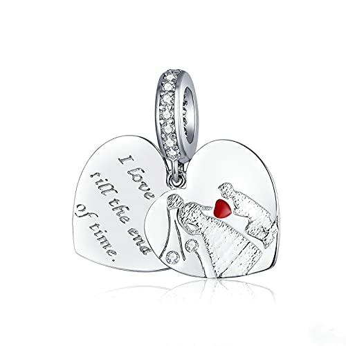LISHOU Regalo De Mujer 925 Cuentas De Plata Esterlina Proponer Matrimonio Corazón De Doble Capa Encantos De Compromiso De Boda Colgante De Cuentas Pulseras Collares Fabricación De Joyas De Bricolaje