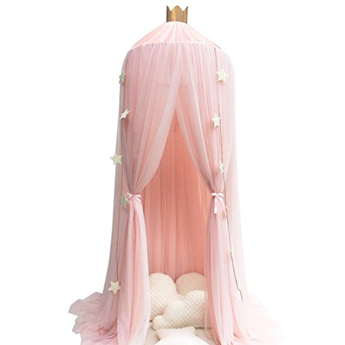 Didihou Mosquito Net Bed Canopy Yarn Play Tent Bedding for Kids Playing Reading with Children Round Lace Dome Netting Curtains Baby Boys and Girls Games House (Peach)