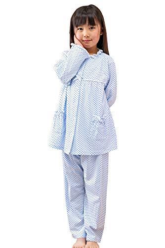 ケーズアイ 子供パジャマ女児用 綿100%ニット地ドット 長袖・長パンツ 前開きパジャマ 春・秋向き商品
