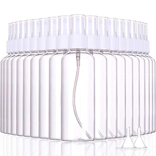 JUJU 20 Piezas 60ML Frascos de Spray, Transparente Botella de Spray Plástico Blanco Botes Botella de Pulverizacion Vacíos para Perfume